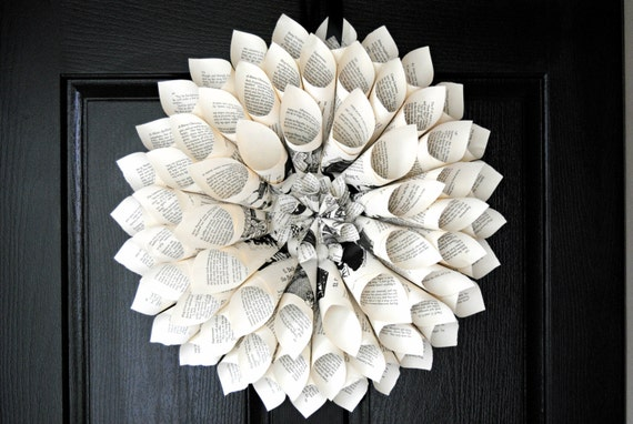 17 in Shabby Chic Vintage Book Page Wreath