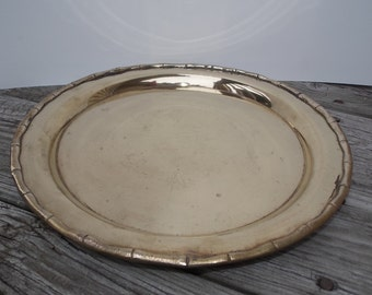 Vintage Brass Bamboo Edge Tray