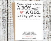 Customizable Boy Meets Girl Save the Date Cards. Save The Date Magnet. Wedding Card. Invitations. Save The Date Postcard. Postcards. Paper.