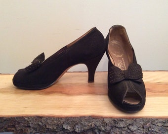 1940s Platforms Delman 40s Brown Suede