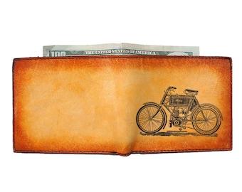 Mens Wallet - Engraved Wallet - Slim Leather Wallet - Motorbike