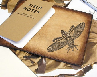 Field Notes Leather Cover - Death Head Moth - Customizable - Free Personalization