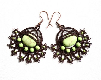 Chocolate Brown Lime Green Turquoise Beaded Tatting Lace Earrings