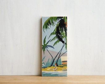 Paint by Number Art Block 'Island Life' - vintage, palm trees, ocean, beach