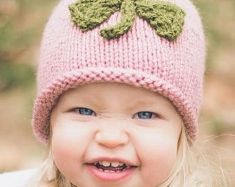 Knit Pink Baby Hat with Green Clover  -  March St Patrick's Day Photo Prop ~ READY TO SHIP