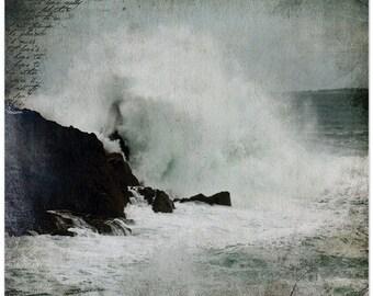 France photography, ocean waves, French coast, Bretagne France, coastal fine art print
