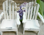 Summer Chair- Adirondack Cake Topper with banner garland  We Do Hand painted Shabby chic The Modern Vintage Bride
