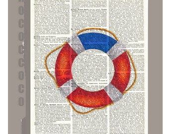 Red and Blue Lifebuoy/Americana - ORIGINAL ARTWORK print over an Repurposed  Vintage Dictionary page 8 x 10 -Upcycled Book Print