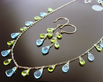 Apatite and Peridot Sterling Silver Gemstone Necklace and Earrings Set