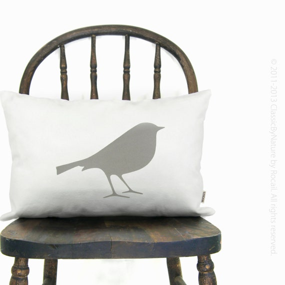 Bird decorative pillow case in gray and white - Pillow cover with bird and abstract feathers pattern back - 12x18 decorative lumbar pillow