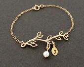 Gold Initial Bracelet, Branch Bracelet, Family Tree Bracelet, Personalized Bracelet, Gift for Mom
