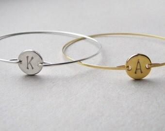 Monogrammed Bracelet, Initial Bangle, Gold Initial Bracelet, Silver Initial Bracelet, Custom Initial, Initial Bracelet, Bridal Initial