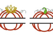 Split Pumpkin - 2 types Boish and Girly - machine embroidery applique designs for hoops 4x4, 5x7, 6x10 in sizes 4, 5 and 6 inches