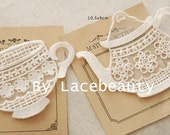 Beige Cotton Lace Appliques Lovely Cup Teapot Floral Embroidered Tulle Patches 2pcs