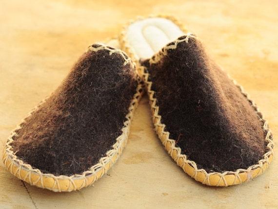 brown felt slippers