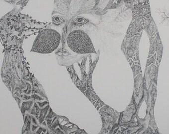 Art, Print, Sketch, Marie Keis le Glatin, Nature, Natural, Charmer, Mystical