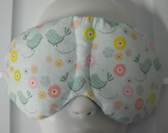 Herbal Hot/Cold Therapy Sleep Mask with adjustable and removable strap Birds and Flowers