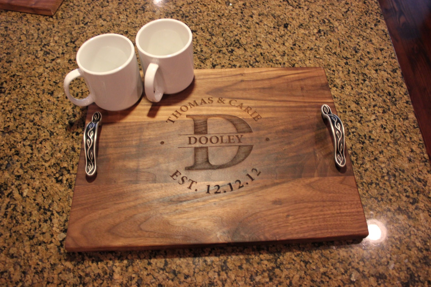 Personalized Engraved Wood Serving Tray By Damianswoodworks