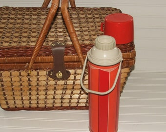 Mad Men Inspired Vintage Retro Mid Century Thermos Football Coffee Hot Chocolate 1970s