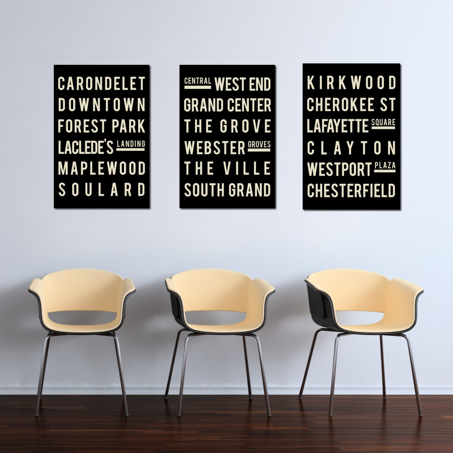 St Louis Art Neighborhood Poster Subway Sign Print Wall Art Black And