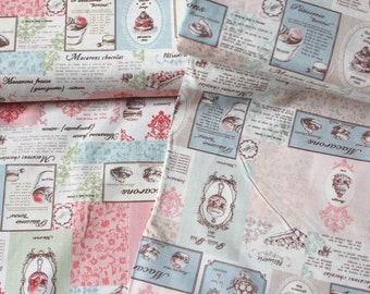 Japanese Fabric Yuwa, Macaroon Fabric, Shabby Chic Fabric, Dress Fabric, Cafe Decor Fabric, Food Fabric/Vintage Patisserie Recipe/a yard