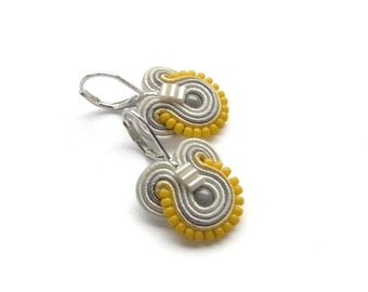 Yellow Drop Earrings Yellow Earrings Yellow and Gray Earrings Yellow and Gray Wedding Grey Earrings Soutache Earrings Yellow Dangle Earring