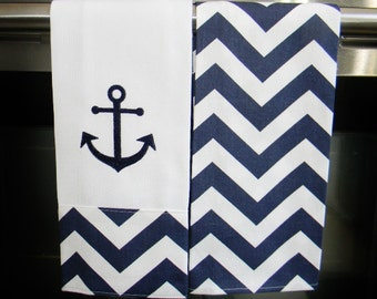 Anchor Kitchen Towels or Hand Towels  in Navy Chevron | Housewarming Gift | Hostess Gift | Gifts for Her | Wedding