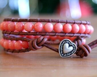 Beaded Genuine Leather wrap bracelet, Coral Mountain Jade, gemstone, Boho, silver heart, pink, red, elephant, gift idea, hipster
