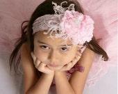 Baby Girl Flower Headband - Infant Headband - Photo Prop - Headband - Infant Headband - Baby Headband / Pink Rosette Flower Headband