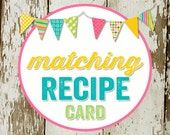RECIPE CARD to match any design for baby shower or party, digital, DIY printable file