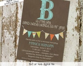 baby boy baby shower invitation B is for boy bunting banner baptism high tea shower baby sprinkle diaper (item 122) shabby chic invitations