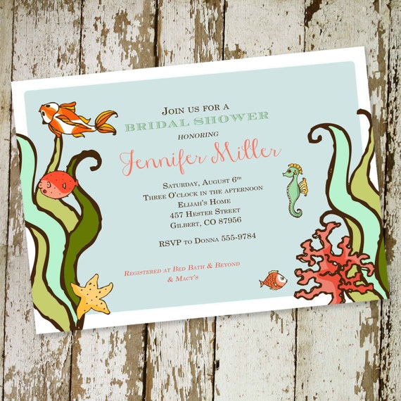Couples Bridal Invitation under the sea bridal shower coed party invite stock the bar retirement party rehearsal dinner 323 Katiedid Designs