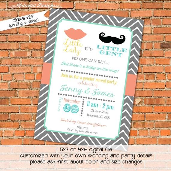 Little miss Little gent Gender reveal invitation couples shower lips or mustache baby shower chevron sprinkle (item 1449) shabby invitations