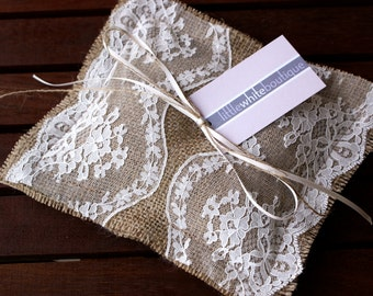 Ring bearer pillow - burlap and  ivory lace