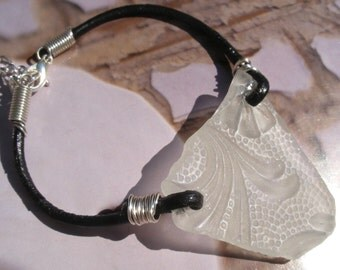 Scottish Jewelry Sea Glass Bracelet in White Floral Pattern Leather Cord Scotland Gift