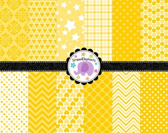Yellow Digital Scrapbooking Papers, Yellow Digital Paper Pack, Sunny Digital Paper Pack, Instant Download, Commercial Use