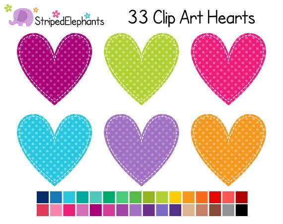 Stitched Heart Clip Art Polka Dot 2 Digital Clip Art