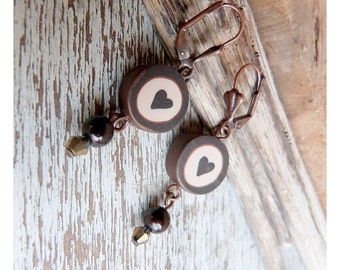 Valentine earrings, Heart earrings Chocolate heart, ecru, polymer clay beads, boucles d'oreilles coeur chocolat - autumn jewelry