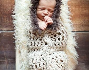 Crochet Eskimo Hooded Cocoon. Crochet Photo Prop. Crochet Cocoon