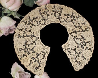 "Large Antique Schiffli Lace Bertha Collar in Cotton - Almost 22"" Wide"