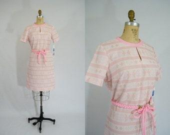 Vintage 1970s Border Print Dress / Fair Isle Dress / Winter Dress / Pink Braided Belt Dress /Tags Attached / Large
