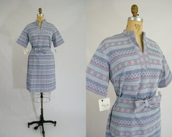 Vintage 1970s Dress / Fair Isle / Blue Tie Dress / Tags Attached / Navajo Print / Border Print / Large
