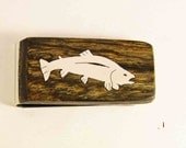 Exotic wood Money clip with hand cut Sterling Silver trout Inlay.