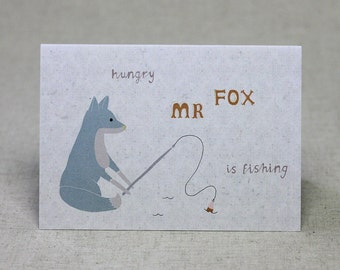 Mr Fox Fishing Birthday Card