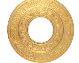 Large Porthole Port Hole Filigree Raw Brass Stamping Gold 74mm Qty 1 One Made in the USA