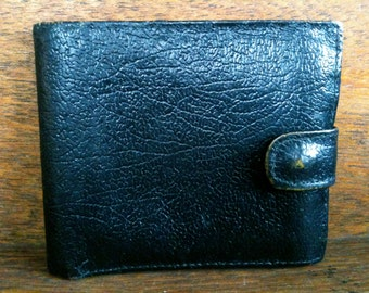 Vintage English Black Leather Wallet circa 1970's / English Shop