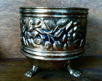 Vintage English Brass Planter Bowl Pot Dish circa 1950's / English Shop