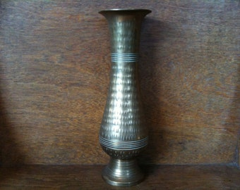 Vintage English Brass Vase Stem Flower Pot circa 1950's / English Shop