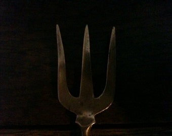 Vintage English Mother of Pearl brass pickle fork circa 1920's / English Shop