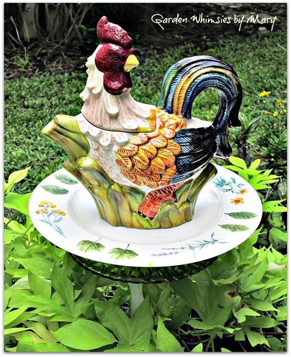 Garden Decor Magazine: Rooster Teapot Garden Totem Stake As By GardenWhimsiesByMary